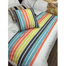 Stripe Printing Microfiber Reversible 3 Stück Full / Queen Size Duvet Cover Set mit verstecktem Button
