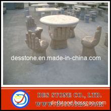 Granite Stone Carving with Outdoor Table and Chairs Statue
