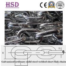 GE. Acero corto ordinario galvanizado soldado con autógena cadena de enlace corta1 / 8 '' - 1 ''