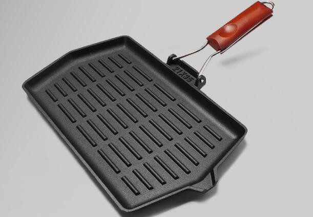 FDA certification  wooden handle cast iron meat grill pan