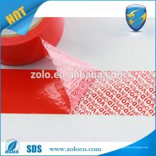 Fita adesiva personalizada de tamper prova de item de alta qualidade com efeito vazio aberto