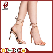 silver high-heel lace up sexy ladies sandals