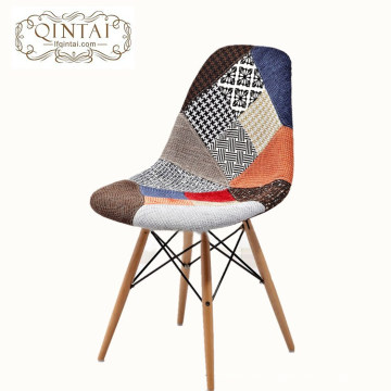 Dining chair france colorful modern fabric wood leg dining chair