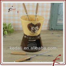Juego de fondue de chocolate de cerámica de colores