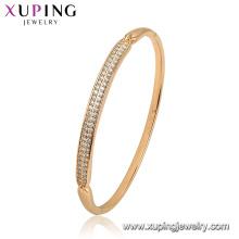 52129 Joyería Xuping China al por mayor chapado en oro estilo simple brazalete de mujer de moda