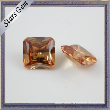 8X8mm Fashion Champagne Octagon Square CZ for Jewelry
