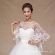 Fashion lace appliques long embroidered chiffon women bridal wedding lace shawl