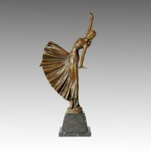 Танцовщица Бронзовая скульптура Народная Леди Декор Латунная статуя TPE-041