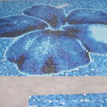 Misturador de mosaico de vidro para piscina de vários tipos, de cores azuis, Mosaicos de vidro para piscinas, fachadas exteriores, revestimento
