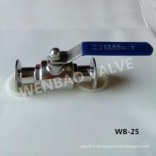 Válvula de bola sanitaria de dos piezas CF8m Clamp