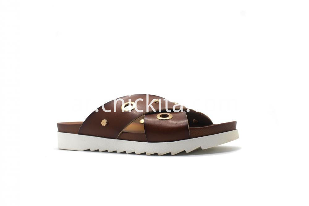 Womens Medium Two Band Slide Footbed Sandals