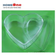 Caja de caramelo de plástico de forma plana corazón