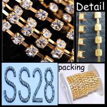 SS28 gold plating Round Cup Chain roll chaton chain