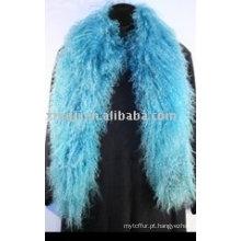 Cachecol de cordeiro mongol tingido na cor azul