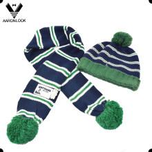 Fashion Cute Knitted Children Bonnet et écharpe avec Pompom