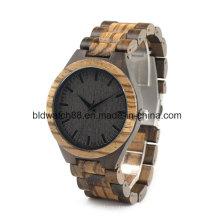 Relógios de madeira Zebra de qualidade feitos à mão de qualidade para homens