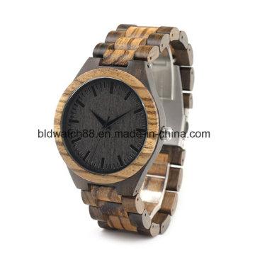 Calidad hecha a mano natural Zebra relojes de madera para hombres