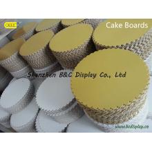 Круглые гофрированные доски для торта с 6 мм / 9 мм / 12 мм, Торт-боксы с фольгой (B & C-K054)