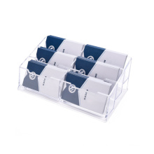 Acrylic Business Card Holder Clear Business Card Stand for Desk or Counter 6 Pocket,300 Capacity