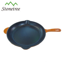 enamel coating square cast iron fry pan with pouring lip