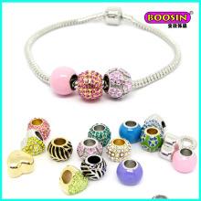 2016 nouveau développé coloré en alliage émail perles bracelet collation