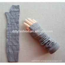 2016 novo design tricotado comprimento do cotovelo inverno cinza cinza sem dedos 100% luvas de caxemira padrão por atacado de tricô