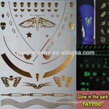 OEM Las marcas de fábrica al por mayor de la manera resplandecen en la etiqueta engomada oscura de los tatuajes temporales para los adultos GLIS001