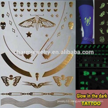 OEM Wholesale fashion brands glow in the dark temporary tattoos Sticker for adults GLIS001