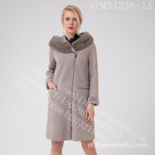 Bias Zipper Spanje Merino Shearling Overcoat For Lady