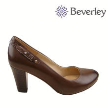 6 cm High Heel Chengdu Shoe Factory Ladies Brown Leather Shoes Size 42