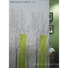 Tela de diseño de árbol Cortina de ducha de poliéster