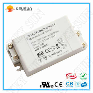 15W 1250ma 12 volt led power supply EMC LVD ROHS approved constant voltage led transformer