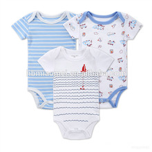 Approvisionnement chinois Bébés garçons nouveau-né Cartoon Barboteuses Vêtements Body Combinaison Ensembles Infant Stripe Outfit Barboteuse Bébé Vêtements