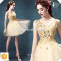 Neue Art- und Weisedame-goldenes Weihnachtsfest-Kleid-elegantes dünnes reizvolles Hochzeits-Abend-Partei-mini goldenes Kleid
