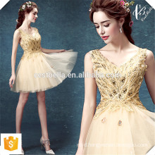 New Fashion Lady Golden Christmas Party Dress Elegant Slim Sexy Wedding Evening Party Mini Golden Dress