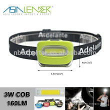 100% lumineux -50% Bright-OFF 3 * AAA Alimentation de batterie 3W COB (160Lumens) Phare ABS