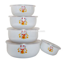 5PCs japanese enamel dinnerware set/ ice bowl &PE lid