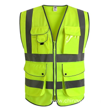 9 Pockets Zipper Front Safety Vest With Reflective Strips