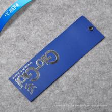 Etiqueta de papel / etiqueta pendurada em prata quente personalizada e logotipo em relevo