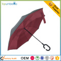 Excelente qualidade Windproof dupla camada c lidar com guarda-chuva dobrável reversa