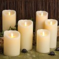 7 Inch High Quality moving wick flameless candles with Timer