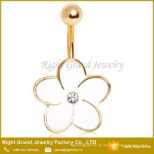 O tamanho personalizado 18K banhado a ouro Crystal Jeweled esmalte anéis de umbigo flor