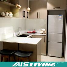 Gabinetes de cozinha baratos com especialista em MDF de melamina para apartamentos econômicos (AIS-K056)