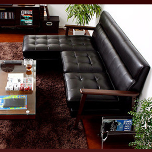 Sofa Sectional Wooden Leather Leather dengan Sleeper