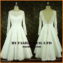 Простой длинным рукавом свадебные платья кружева открытой спиной невесты платье последний короткое платье