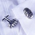 Custom Design Silver Plated Black Stones Cufflinks