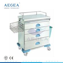 AG-AT019 Bestnote Klinik beweglich auf Rädern Krankenhaus Anästhesie medizinische Wagen