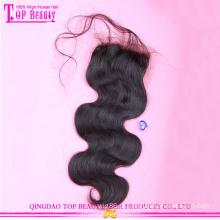 Corpo base seda popular onda 100% cabelo virgem peruana laço encerramento venda quente cabelo virgem peruana do laço fechamentos