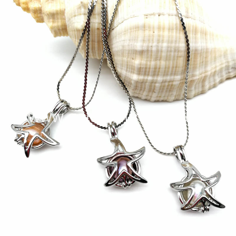 Starfish Style Cage Pendant Necklace