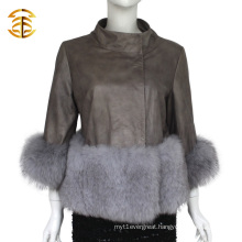 China Supplier Short Shorn Real Leather Jacket with Fox Fur Coat